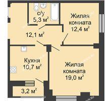 2 комнатная квартира 61,1 м² в ЖК Цветы, дом № 14 - планировка