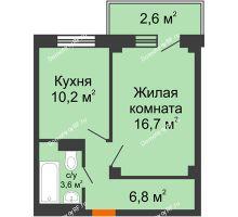1 комнатная квартира 39,1 м², ЖД Подзолкова - планировка