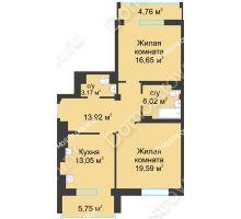 2 комнатная квартира 77,65 м² в ЖК Воскресенская слобода, дом №1 - планировка