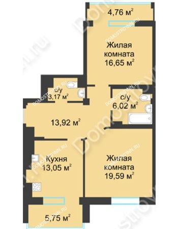 2 комнатная квартира 77,65 м² в ЖК Воскресенская слобода, дом №1