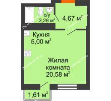 Студия 28,86 м² в ЖК Мечников, дом ул. Мечникова, 37 - планировка