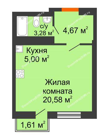 Студия 28,86 м² в ЖК Мечников, дом ул. Мечникова, 37