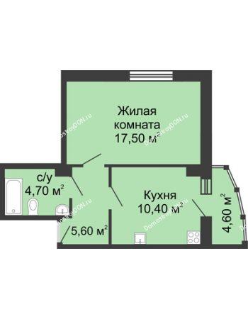 1 комнатная квартира 42,8 м² в ЖК Мега, дом № 2