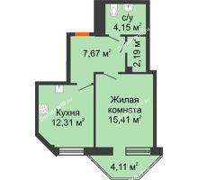 1 комнатная квартира 42,96 м² в ЖК Чернавский, дом 2 этап