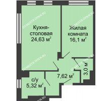 1 комнатная квартира 56,63 м² в ЖК TRINITY (Тринити), дом № 1 - планировка