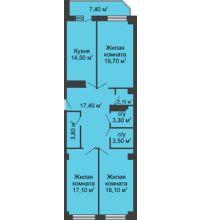 3 комнатная квартира 103,2 м², ЖК Крылья Ростова - планировка