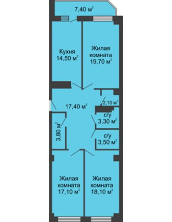 3 комнатная квартира 103,2 м² - ЖК Крылья Ростова