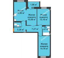 3 комнатная квартира 74,34 м² в ЖК Дом с террасами, дом № 6 - планировка
