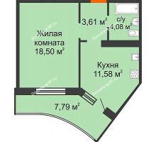 1 комнатная квартира 41,67 м² в ЖК Губернский, дом Литер 29 - планировка