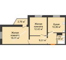 2 комнатная квартира 53,53 м² в ЖК Бурнаковский, дом № 47 - планировка