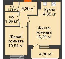 1 комнатная квартира 44,65 м², ЖК Русский Авангард - планировка