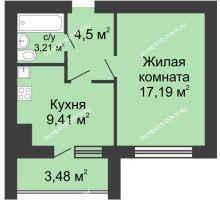 1 комнатная квартира 36,05 м² в ЖК Парк Горького, дом 62/2, №4