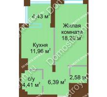 1 комнатная квартира 43,54 м² в ЖК Сердце Нижнего, дом № 36 - планировка