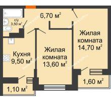 2 комнатная квартира 50,7 м² в ЖК SkyPark (Скайпарк), дом Литер 1, корпус 1, блок-секция 2-3 - планировка