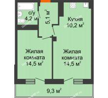 1 комнатная квартира 51,7 м², ЖК Вершина - планировка
