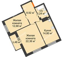 2 комнатная квартира 65,74 м², Дом премиум-класса Коллекция - планировка