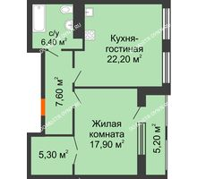 1 комнатная квартира 62,48 м² в ЖК Георгиевский, дом 2а - планировка