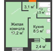1 комнатная квартира 33,1 м² в Квартал Детский мир, дом № 2 - планировка