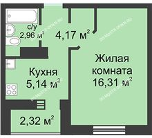 1 комнатная квартира 29,74 м² в ЖК Корабли, дом № 1