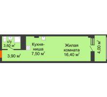 Студия 35,4 м², Жилой Дом пр. Чехова - планировка