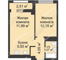 2 комнатная квартира 37,82 м², Каскад на Сусловой - планировка