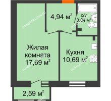 1 комнатная квартира 39,75 м² в ЖК Книги, дом № 1 - планировка