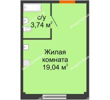 Студия 22,78 м² в ЖК Лайм, дом № 1 - планировка