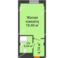 Студия 29,27 м², Апарт-Отель Гордеевка - планировка