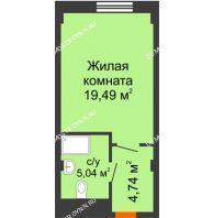 Апартаменты-студия 29,27 м², Апарт-Отель Гордеевка - планировка