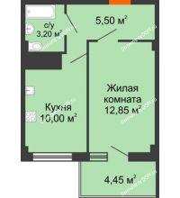 1 комнатная квартира 33,5 м² в ЖК Грин Парк, дом Литер 2 - планировка