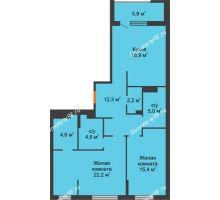 2 комнатная квартира 85,2 м² в ЖК Айвазовский, дом ГП 2 Дом «Средиземный» - планировка