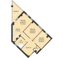 2 комнатная квартира 86,72 м², Клубный дом ГРАН-ПРИ - планировка