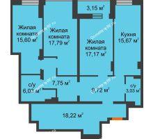 3 комнатная квартира 113,18 м² в ЖК Континент, дом № 16 - планировка