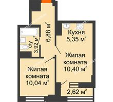 2 комнатная квартира 37,9 м² - ЖК Каскад на Сусловой