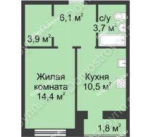 1 комнатная квартира 40,4 м² - ЖК Дом на Иванова