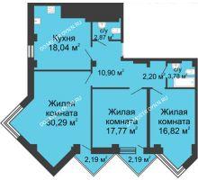 3 комнатная квартира 104,88 м², ЖК С видом на Небо! - планировка