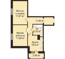 2 комнатная квартира 62,98 м², ЖК Гелиос - планировка
