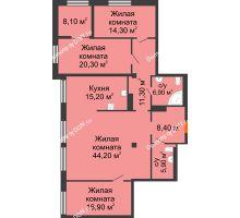 4 комнатная квартира 147,5 м², ЖК Богатяновский - планировка