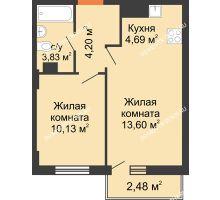2 комнатная квартира 37,19 м², ЖК Каскад на Ленина - планировка