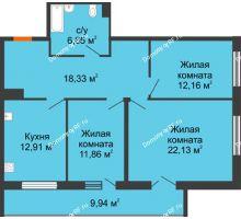 3 комнатная квартира 88,74 м² в ЖК Королев, дом №1 (1,2, подъезд), 1-ая очередь - планировка