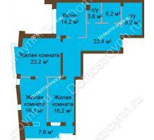 3 комнатная квартира 119,44 м², ЖК Классика - Модерн - планировка