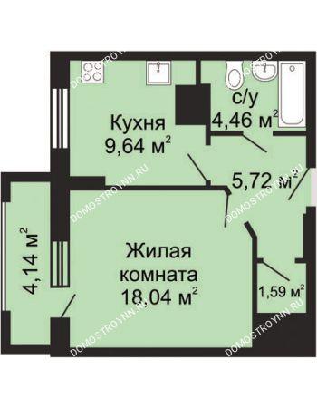 1 комнатная квартира 41,52 м² - ЖК Гелиос