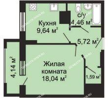 1 комнатная квартира 41,52 м², ЖК Гелиос - планировка