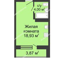 Студия 24,8 м² в ЖК Академический, дом № 10 - планировка
