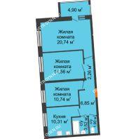 3 комнатная квартира 73,33 м² в ЖК АВИА, дом № 2 - планировка