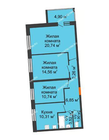 3 комнатная квартира 73,33 м² в ЖК АВИА, дом № 2