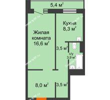 1 комнатная квартира 46,5 м² в ЖК Мичурино, дом № 3.2 - планировка