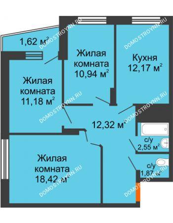 3 комнатная квартира 71,07 м² - Жилой дом Звездный