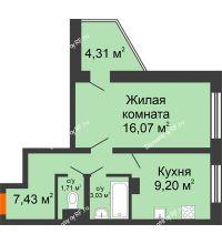 1 комнатная квартира 39,6 м², Жилой дом: №23 в мкр. Победа - планировка