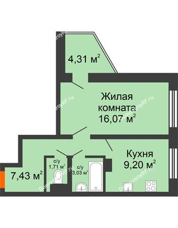 1 комнатная квартира 39,6 м² - Жилой дом: №23 в мкр. Победа